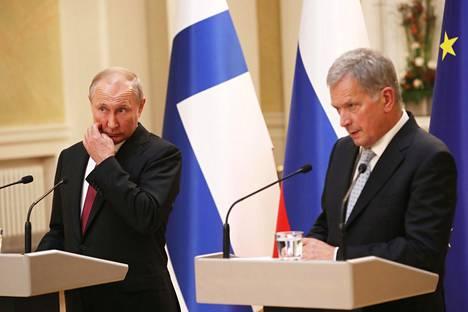 Vladimir Putin ja Sauli Niinistö yhteisessä tiedotustilaisuudessa Putinin Suomen-vierailulla elokuussa 2019.