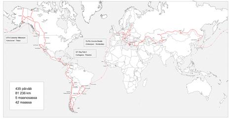 Tomin ja Jasminin matka kulki Euroopassa, Etelä-Amerikassa, Pohjois-Amerikassa ja Aasiassa. Laiva pysähtyi myös Afrikassa.