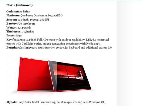 Näin Winsupersite esittelee Nokian tulevan taulutietokoneen.