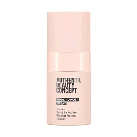 Authentic Beauty Concept Nude Powder Spray on huomaamaton hiuspuuteri, joka tuo tukkaan volyymia ja liikkuvuutta, 28,30 €.