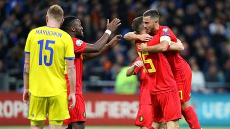 Belgia voitti Kazakstanin 2–0.