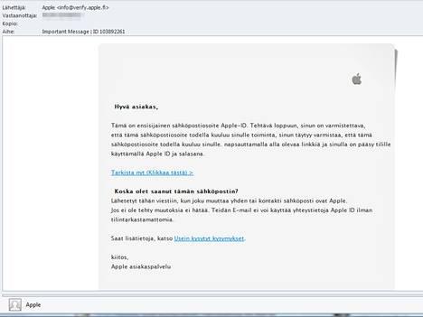 Huijausviestin pohja näyttää Applelta, teksti ei.