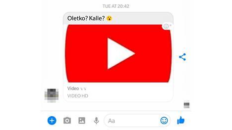 Facebook Messengerin kautta tulevassa haittaohjelmalinkissä lukee vastaanottajan nimi ja oheisteksti joko suomeksi tai ruotsiksi.