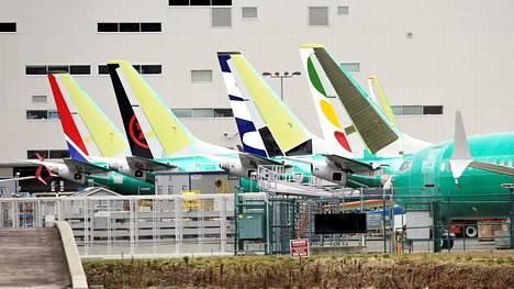 Boeing 737 MAX -lentokoneita kuvattuna Boeingin Rentonin-tehtaalla Yhdysvaltain Washingtonissa.