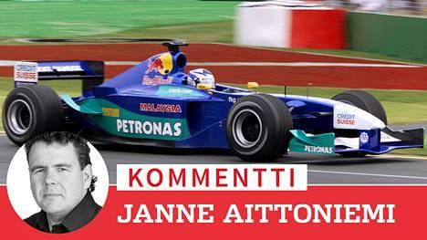 Kimi Räikkönen vauhdissa Sauberilla uransa ensimmäisessä F1-kisassa Australiassa maaliskuussa 2001.