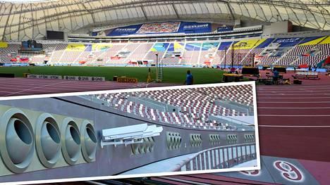 Yleisurheilun MM-kisat alkavat perjantaina Qatarin Dohassa Khalifan stadionilla. Stadionin lämpötilaa jäähdytetään kisojen aikana jättimäisillä puhaltimilla.