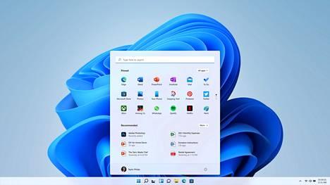 Windows 11:n ulkoasu on kokenut uudistuksen. Käynnistysvalikko asettuu keskelle käyttöjärjestelmää.