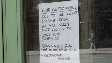 Ravintola kertoi lopettavansa toimintansa koronakriisin vuoksi.