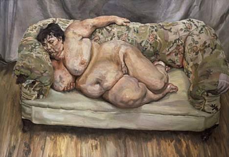 Sohvalla nukkuvaa, alastonta naista esittävä maalaus valmistui vuonna 1995.
