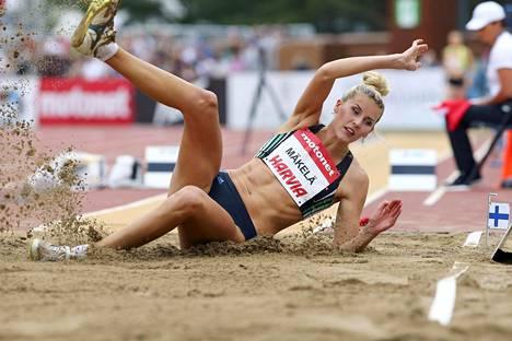 Kristiina Mäkelä loikki uuden ennätyksensä 14,31 Kalevan kisoissa heinäkuun loppupuolella.