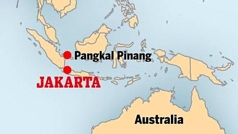 Lento oli matkalla Jakartasta Bangkan saarelle Pangkal Pinangin kaupunkiin.