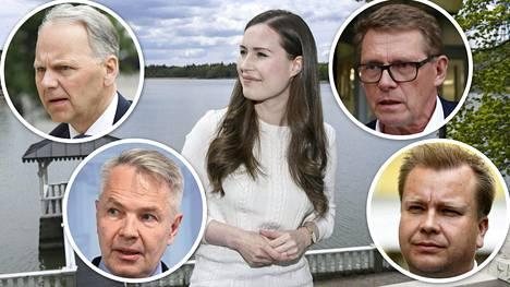 Jari Leppä (vas.ylh.), Pekka Haavisto, Matti Vanhanen (oik.ylh.) ja Antti Kaikkonen sijaistavat pääministeri Sanna Marinia.