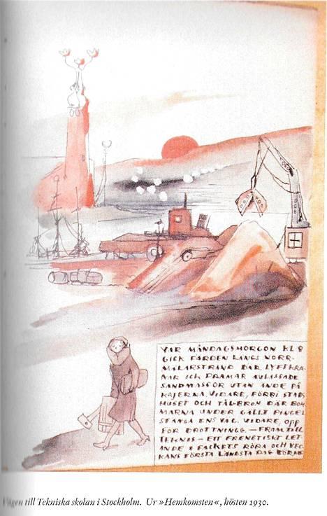 Tove kuvitti koulumatkansa Tekniskaan vuonna 1930.