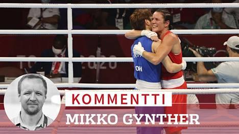 Mira Potkonen (oik.) voitti Etelä-Korean Oh Yeon-Jin toisessa ottelussaan. Tänään Potkonen ottelee jo mitalista: voitto varmistaisi vähintään pronssin.
