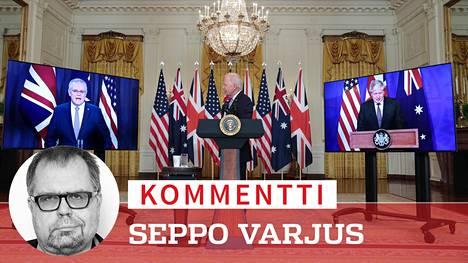Australian pääministeri Scott Morrison, Yhdysvaltain presidentti Joe Biden ja Britannian pääministeri Boris  Johnson ilmoittivat uusista toimista, jotka hermostuttavat Kiinaa.