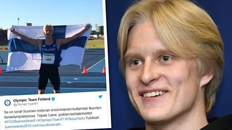 Keihäänheittäjä Topias Laine täräytti historiallisesti nuorten olympiakultaa ennätystuloksella!