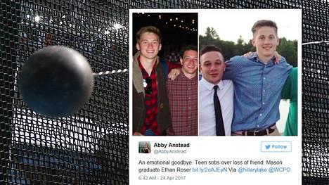 19-vuotias Ethan Roser (kuvissa keskellä) menehtyi yleisurheilukilpailuissa Yhdysvalloissa.