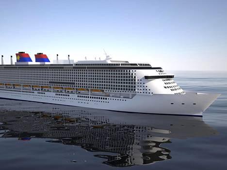 Havainnekuva Star Cruises -varustamolle rakennettavasta matkusta-aluksesta.