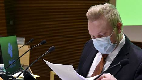 Eduskuntaryhmän puheenjohtaja Antti Kurvinen keskustan eduskuntaryhmän talvikokouksen avauksessa Helsingissä 21. tammikuuta 2021.