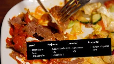 Kalevan kisojen avauspäivänä torstaina kisaravintolan listalla on hernekeittoa ja kebabbuffet. Kuvituskuva.