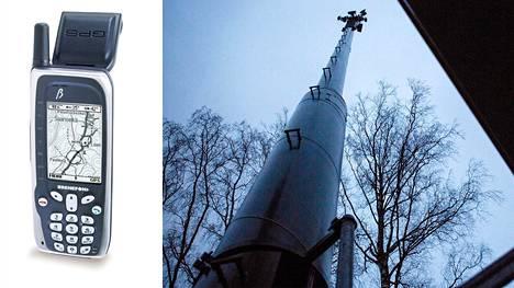 Ennen kuin puhelimiin tuli satelliittipaikannus, laitteita pystyttiin paikantamaan mobiiliverkon tukiasemilla ja näin tehdään edelleen. Kuvassa vasemmalla vuonna 1999 ilmestynyt suomalainen Benefon Esc, jossa oli maailman ensimmäisenä gps-paikannus ja karttatoiminnot.