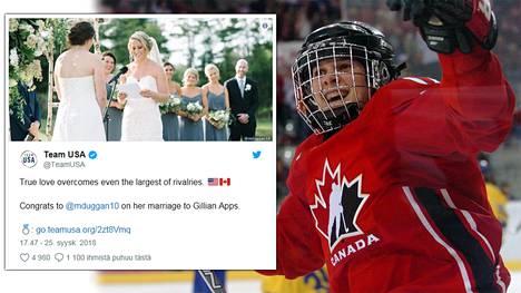 Kanadalainen Gillian Apps ja yhdysvaltalainen Meghan Duggan menivät naimisiin.