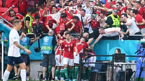 Kentänlaitatoimittaja (oik.) säikähti, kun Attila Fiola ja muu Unkarin joukkue ryntäsi hänen pöytänsä luokse juhlimaan maalia.