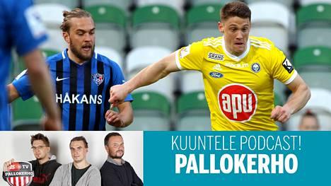 Mika Ojala (vas.) tietää, miten paljon yksi pelaaja voi vaikuttaa joukkueen kohtaloon. Yksi esimerkki on Filip Valencic (oik.), joka mullisti Interin kauden 2019 Ojalan joukkuekaverina. Valencic palaa täksi kaudeksi HJK:hon.