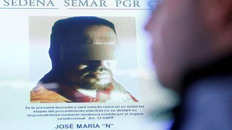 Kuva Jose Maria Guizarista näkyi näytöllä tiedotustilaisuudessa Mexico Cityssä 9. helmikuuta 2018.