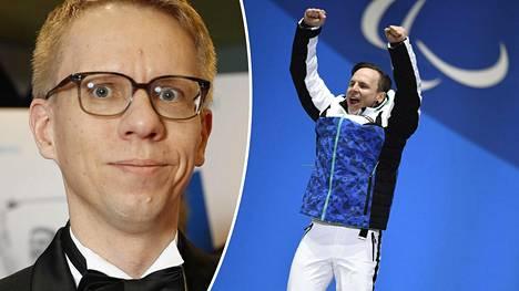 Yle urheilun päällikkö Panu Pokkinen ja paralympiavoittaja Matti Suur-Hamari.