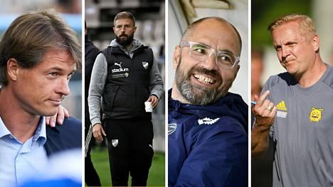 Mika Lehkosuo (vas.), Joaquin Gomez, Jyrki Ahola ja Jarkko Wiss ovat esillä ensi kauden valmentajaspekulaatioissa.