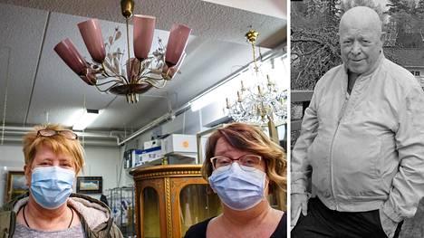 Anne Lindstedt ja Katri Helander pitivät lapsuudenkotinsa kattolamppua hienona, mutta hinta-arvio ylitti kaikki odotukset.