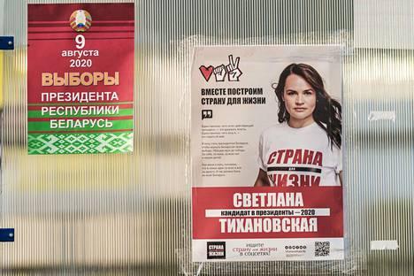 Svetlana Tihonovskajan vaalimainos Minskissä.