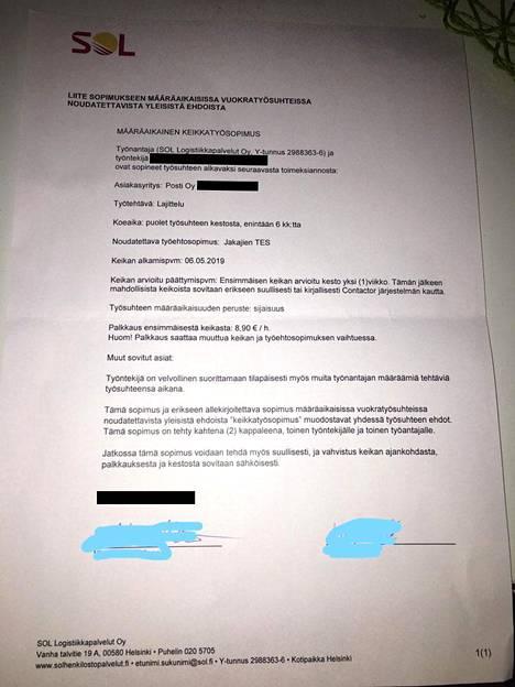 Taloussanomien haltuunsa saama SOL Logistiikkapalveluiden ja Postin yksikön työsopimuksen liite.