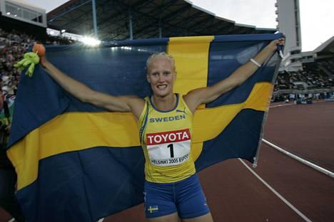 Carolina Klüft voitti MM-kultaa myös Helsingissä 2005.