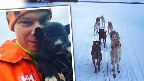 Juha Romppanen matkustaa koiravaljakollaan maan halki pituussuunnassa.