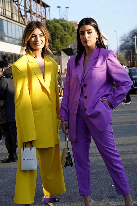 Muodikasta keltaista voi pukea vaikka päästä varpaisiin. Yksi sesongin hiteistä on myös violetti amethyst orchid.