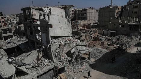 Raskaasti pommitettu Douman alue Itä-Ghoutassa on kärsinyt valtavia vahinkoja.