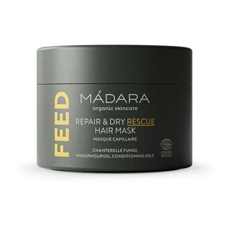 Luonnonkosmetiikkabrändi Mádaran Feed Repair & Dry Rescue -naamio pohjaa hoitaviin öljyihin ja sieniin. Se lupaa ehkäistä hiusten vahingoittumista, vahvistaa hiuksen lipidimatriisia ja parantaa kuumakäsittelyiden vastaista suojaa, 30,90 €.