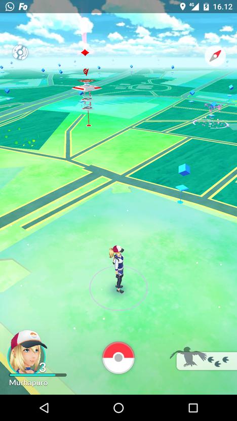 Tältä Pokémon Go näyttää Android-puhelimella pelattuna.