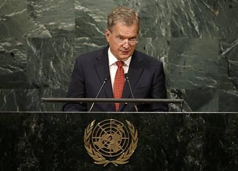 Tasavallan presidentti Sauli Niinistö YK:n yleiskokouksessa New Yorkissa.