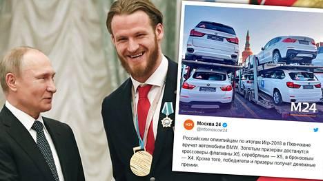 Vladimir Putin muisti jääkiekkoilija Ivan Teleginia myös syntymäpäivälahjalla. 26 vuotta täyttänyt maajoukkuehyökkääjä sai presidentiltä legendaarisen neuvostoliittolaisvalmentajan Anatoli Tarasovin kirjan.