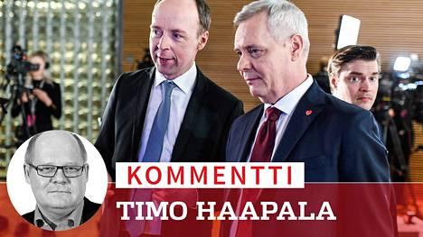 Jussi Halla-ahon Perussuomalaiset jäi vain paikan päähän Antti Rinteen demareista.