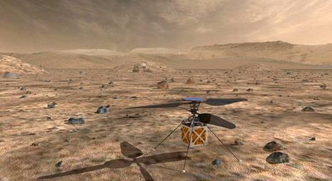 Marsissa pian lentävä helikopteri Nasan julkaisemassa havainnekuvassa.