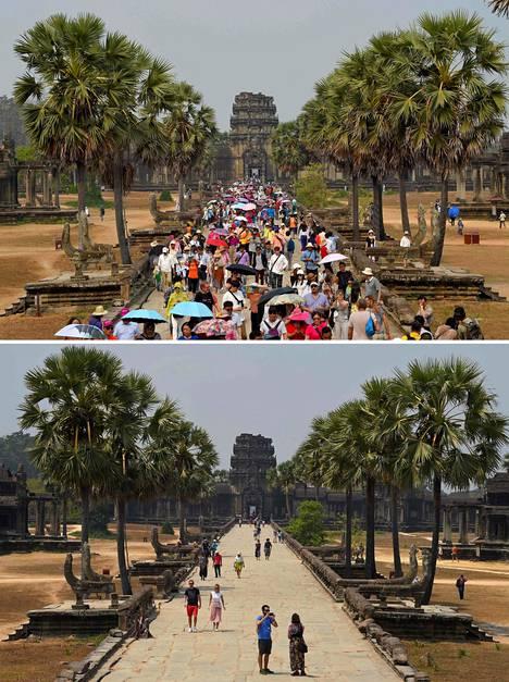 Angor Wat on Kambodžan suosituin matkailunähtävyys. Maaliskuussa 2019 temppelialue oli pullollaan turisteja. Vuoden päästä ihmisiä ei näy juurikaan.