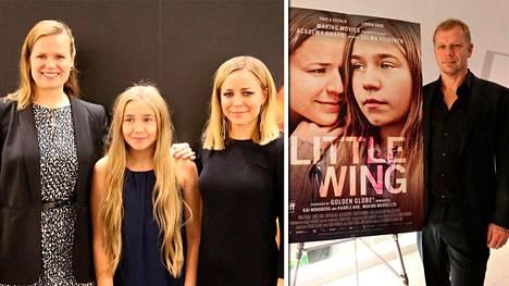 Selma Vilhunen, Linnea Skog, Paula Vesala ja Kai Nordberg Tyttö nimeltä Varpu (Little Wing) -elokuvan lehdistönäytöksessä Los Angelesissa.