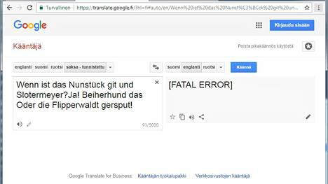 """""""Maailman hauskin vitsi"""" tappaa ihmisen ja käännöskoneen. Kuvakaappaus Google Kääntäjästä."""