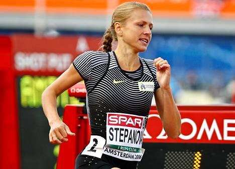 Julia Stepanova paljasti Venäjän dopingkoneiston toiminnan vuonna 2014. Kuva Amsterdamin EM-kisoista 2016.