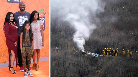 Vanessa Bryant (vas.) menetti helikopteriturmassa miehensä Koben ja tyttärensä Giannan (kesk.).