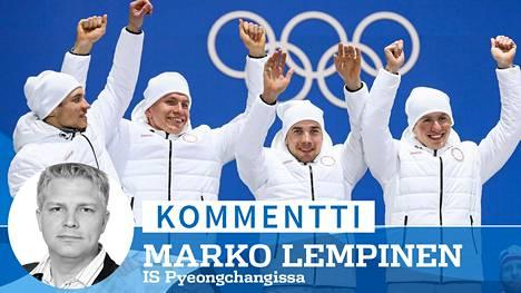 Venäläiset olympiaurheilijat Andrei Larkov, Aleksandr Bolshunov, Aleksei Tshervotkin ja Denis Spitsov hiihtivät hopealle miesten 4 x 10 km viestissä Pyeongchangissa.